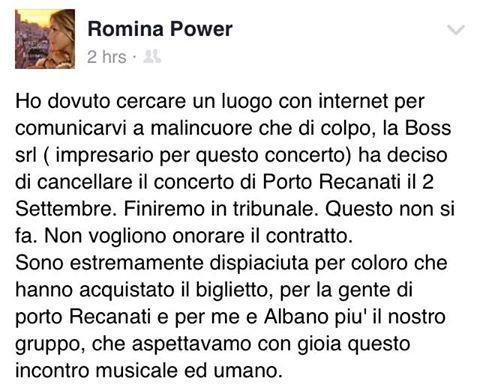 Annullato il concerto con Al Bano, Romina furiosa si sfoga sui social