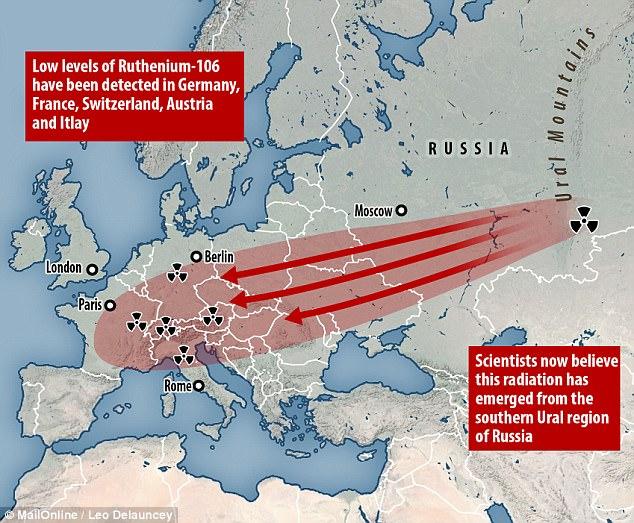 Italia del nord contaminata da una nube radioattiva russa